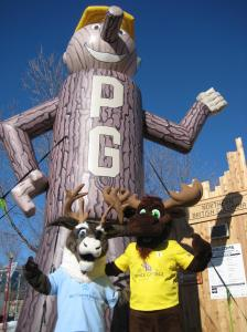 Spirit the Caribou from Northern Health and Fraser the Moose from Tourism Prince George at Canada Games Plaza.