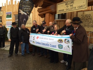 Ribbon Cutting officially opening the Cariboo Chilcotin Coast display at the Canada Games Plaza.